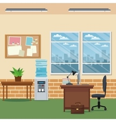 office workspace desk chair laptop lapm table vector image