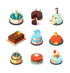 party cakes sweet tasty food with strawberry and vector image