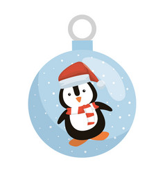 penguin with santa claus hat in crystal ball vector image