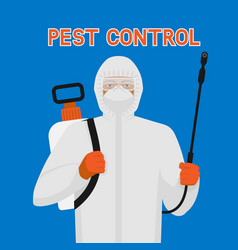 Pest control exterminator in protective suit and vector