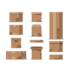 Pile cardboard boxes set vector