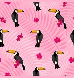 Pink flower on bird toucan pattern flat style vector