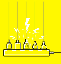 Plug in full power outlet overload charger vector