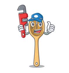 Plumber wooden fork mascot cartoon vector