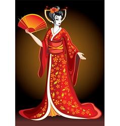 Pretty Geisha Cartoon vector image