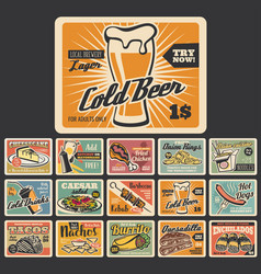 retro fast food dessert and snack signboards vector image