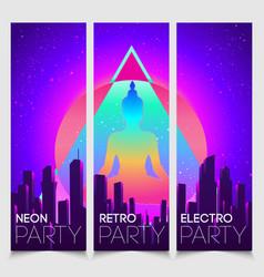 Retro futurism banner set futuristic synth vector