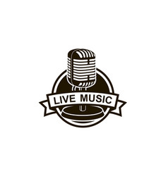 retro microphone emblem vector image