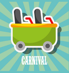roller coaster car carnival fun fair festival vector image
