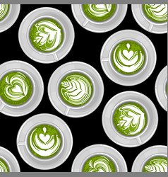 round cups matcha coffee or tea with milk vector image