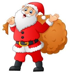 Santa waving and holding sack vector