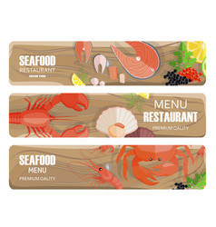 Seafood of premium quality set on wooden board vector