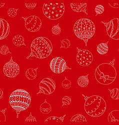 seamless pattern of doodle christmas ball toy vector image