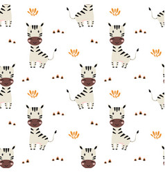 Seamless pattern with cute zebra baby animals vector