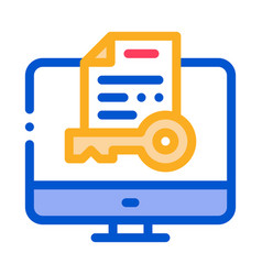 secret documents in computer icon outline vector image