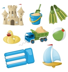 set colorful beach toys for kids vector image