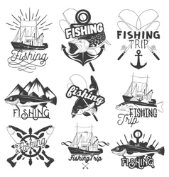 Set monochrome fishing trip emblems vector
