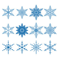 Set of 12 blue snowflakes vector