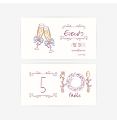 Set of hand wedding card templates vector image