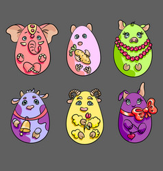 set with 6 animals in a shape of eggs these cute vector image