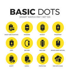smart watch pay flat icons set vector image