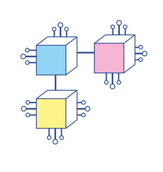Squares digital connections with circuits vector