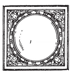 Stove-tile frame 17th century vintage vector