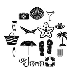 summer rest icons set simple style vector image