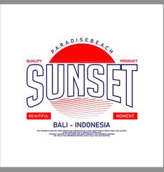 Sunset paradise beach bali indonesia vintage vector