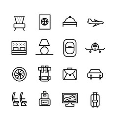 travel line icons set plane car hotel vector image