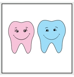 Two teeth smile background vector image