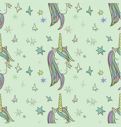 unicorn rainbow seamless pattern vector image