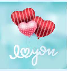 valentines red heart balloons poster design vector image