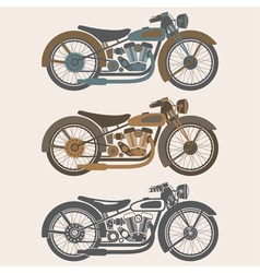 vintage motorcycle set graphic design template vector image