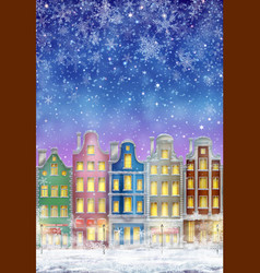 winter town at night with snow vector image