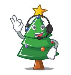 with headphone christmas tree character cartoon vector image