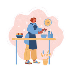 woman cooking at home vector image