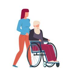woman volunteer help old man young girl vector image