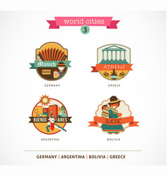 World Cities labels - Sucre Buenos Aires Munich vector image
