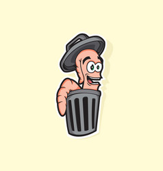 Worm character on trash can vector