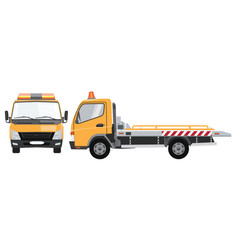yellow tow truck with front and side view flat vector image