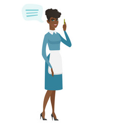 Young african cleaner with speech bubble vector