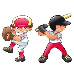 Young baseball players vector