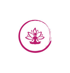 Zen lotus flower woman silhouette yoga logo vector