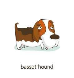 Basset hound Dog character isolated on white vector image