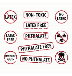 Latex and Phthalate free stamps set vector image vector image