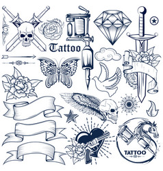 tattoo art design of skull horse and flora vector image