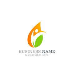 water drop leaf ecology swoosh business logo vector image vector image
