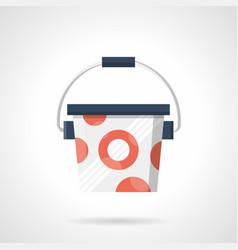 Bucket of protein powder flat color icon vector