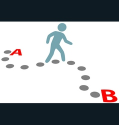 person walk follow path plan point a to b vector image